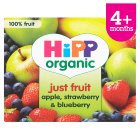 Picture of Hipp Organic Purely Fruits Apple, Strawberry & Blueberry 4 x 100g