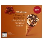 Picture of Chocolate & Caramel Cones Waitrose 4 x 120ml