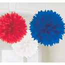 Picture of Red White & Blue Fluffy Decorations 3 per pack