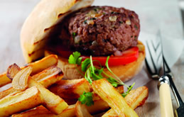 Oven Roasted Garlic Chips with Gourmet Burger : Recipes from Ocado