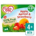 Cow & Gate 4 Mths+ Apple Apricot & Strawberry 100% Fruit Pots