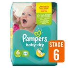 Pampers Baby Dry Nappies Size 6 Large Pack
