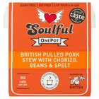 Soulful Food OnePot British Pulled Pork Stew with Chorizo, Beans & Spelt